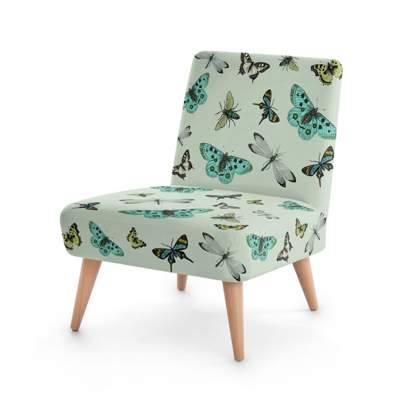 Captivating U0027Flying Highu0027 Illustrative Butterfly Print Chair