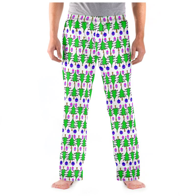 Mens Christmas Pajamas.White Christmas Trees And Baubles Mens Pajama Bottoms