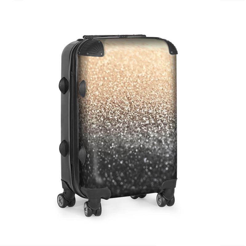 gold black suitcase