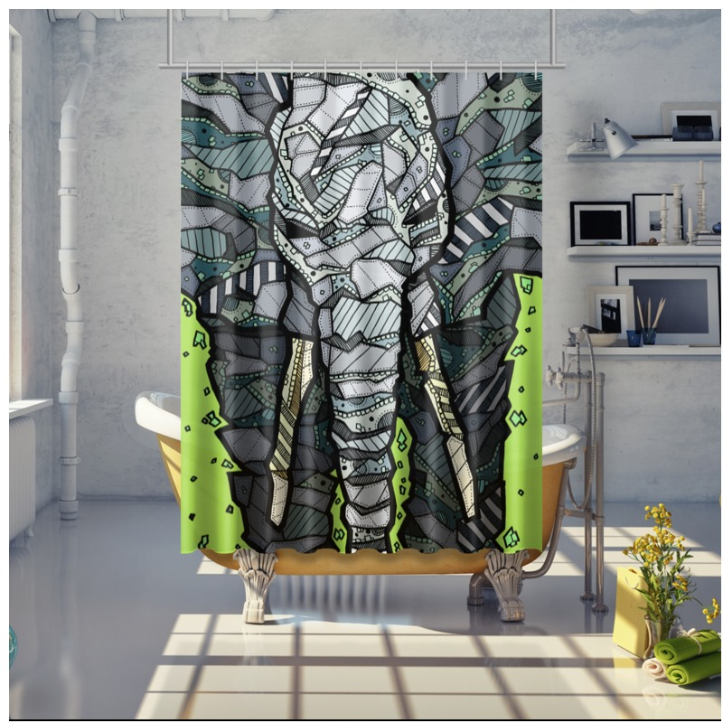 Abstract Elephant Shower Curtain
