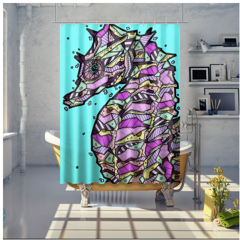 34757 Abstract Seahorse Shower Curtain 150 X 200cm 0jpegcache11