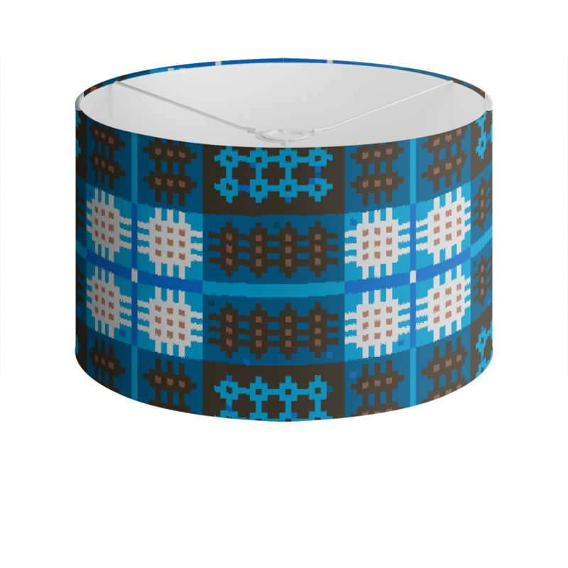 Blue and brown drum lamp shade aloadofball Choice Image