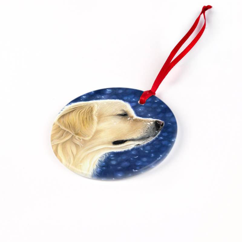 golden retriever christmas ornament magic moment