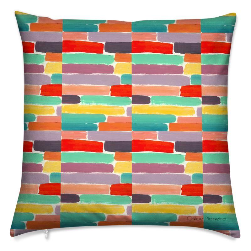 Soft Square Cushion - Coloured Bricks