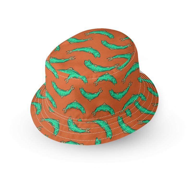 22ecd8b2da130 Orange and turquoise Fish Bucket Hat