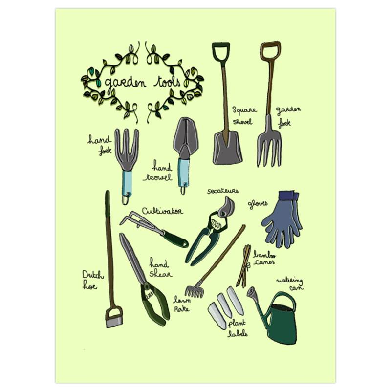 Garden tools art print for Gardening tools 7 letters