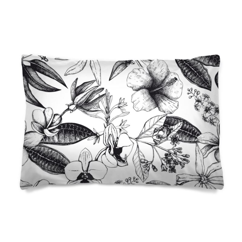 Black And White Exotic Floral Pillow Case