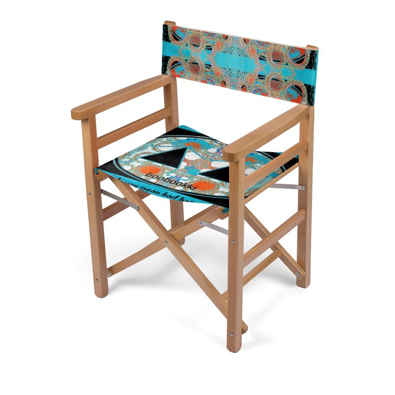Arizona: Quality, All Weather, Collapsible Directors Chair With Fun Print  And Black/blue Palette