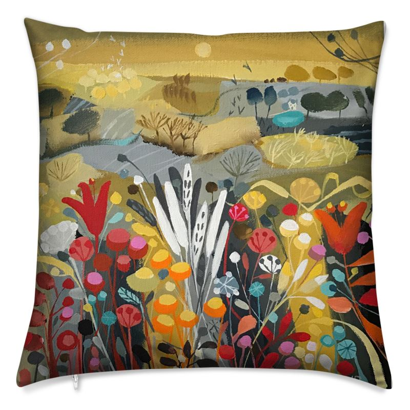 Cushion in Natalie Rymer Harvest Moon design