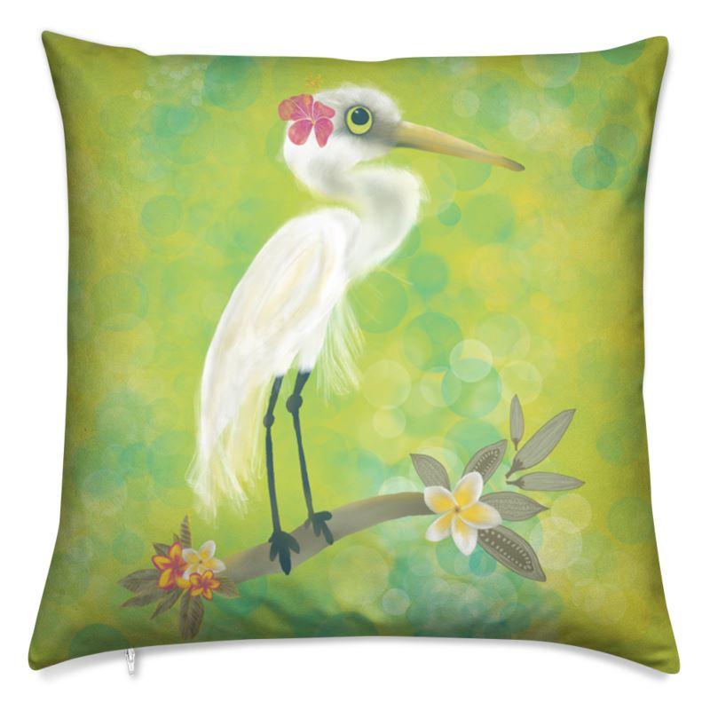 White heron and tropical flowers printed cushion