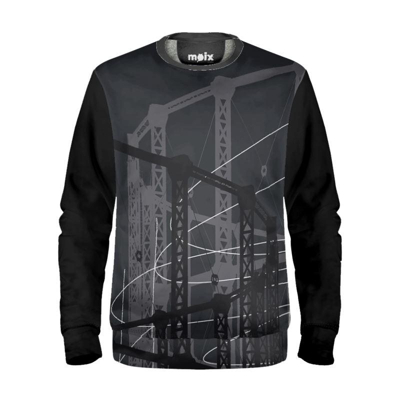 Black Sweatshirt with Gasholder Print in Grey