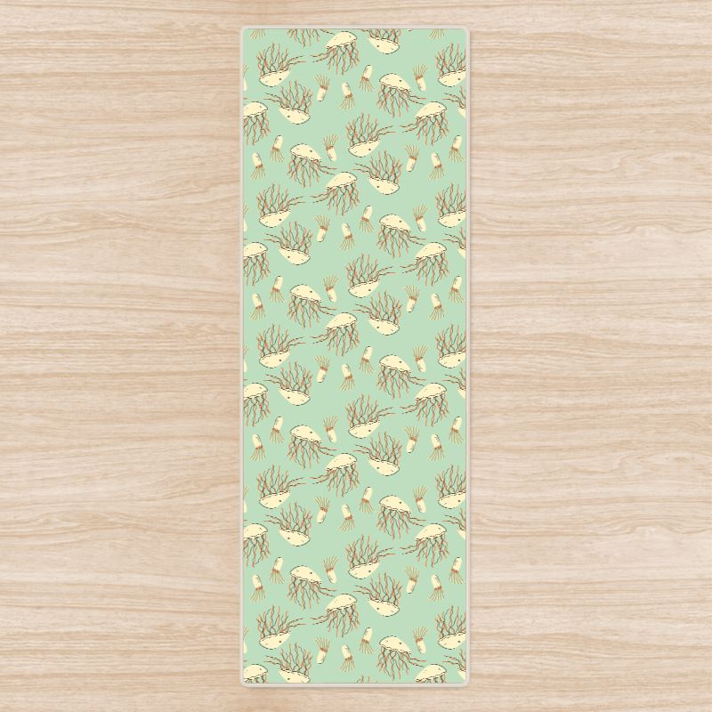 Jellyfish Aqua Blue Patterned Yoga Mat