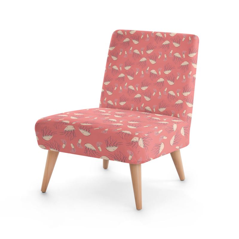 Rosy Jellyfish Pink Patterned Occasional Chair