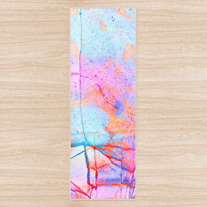 Yoga Mat In The Pink Graffiti Candy Marble Design