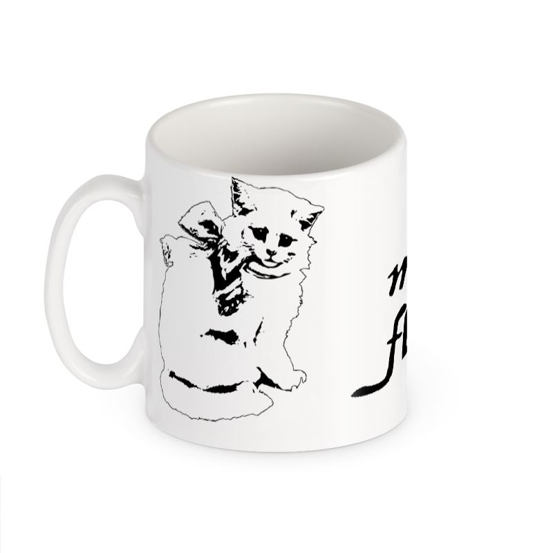 Cute cat mug so much floof for Cute homeware accessories