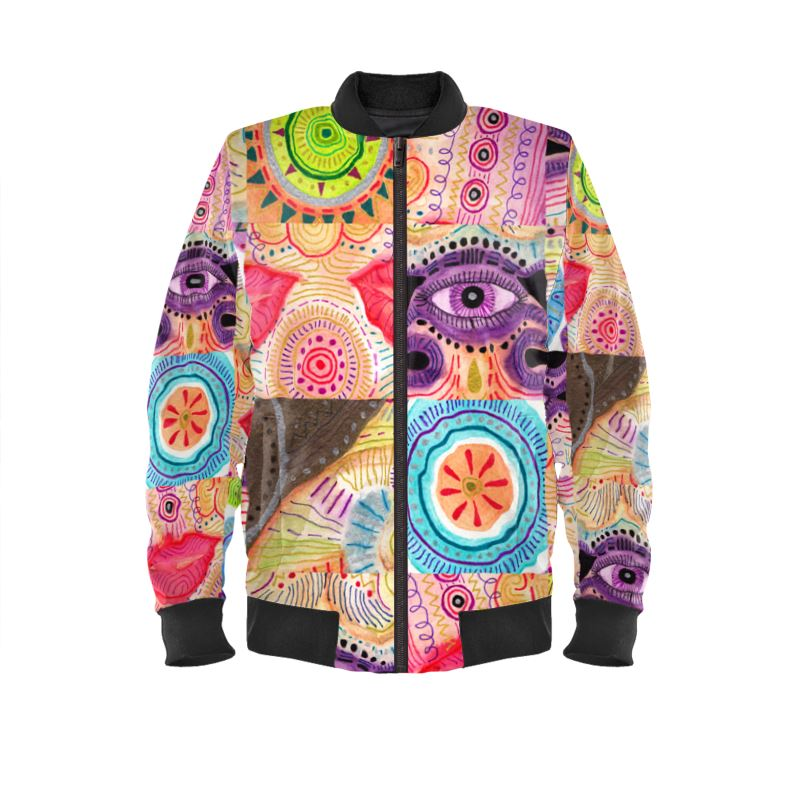 33b99e00978c Ladies Bomber Jacket with repetitive vibrant playful rhythm of color