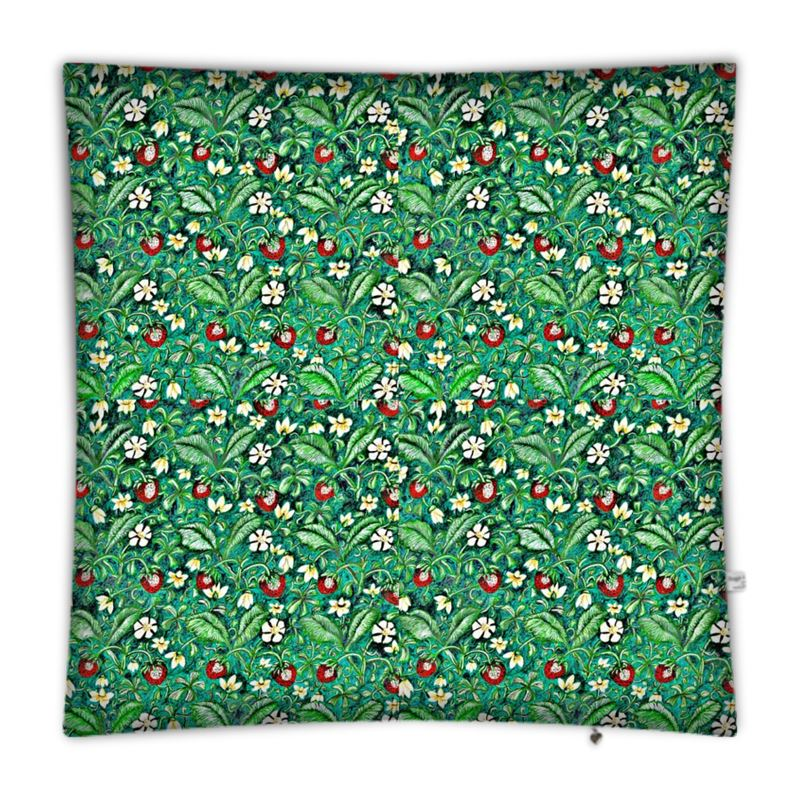 Strawberries Floor Cushion In Green And Red