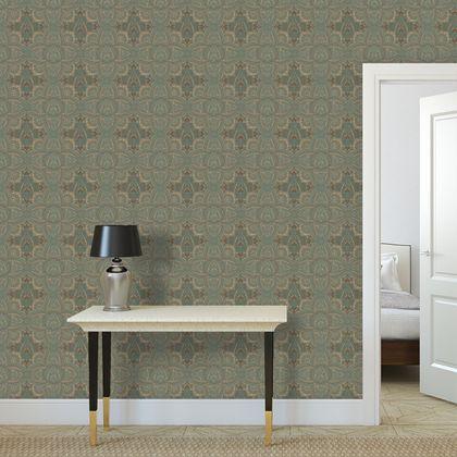 Premium wallpaper - Vintage green and gold art deco pattern