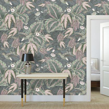 Premium printed wallpaper - Vintage hummingbird foliage
