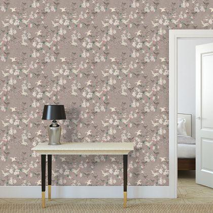 Premium printed wallpaper - BLush vintage japanese birds and blossom