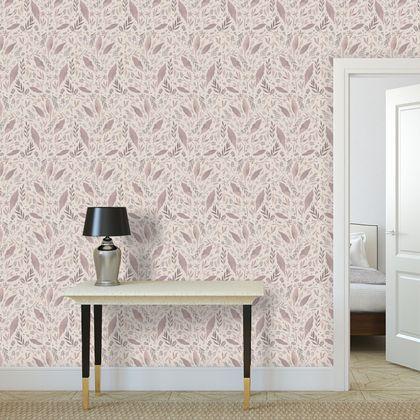 Premium printed wallpaper - watercolor leaves in beige terracotta