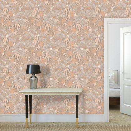 Premium printed wallpaper - Terracotta antique hummingbirds foliage