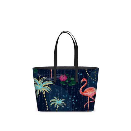 Pink flamingo - Kika Tote - tropical rain, palms, dark blue, navy, exotic, Bohemian, whimsical, resort, beach, bright, jungle, travel - design by Tiana Lofd