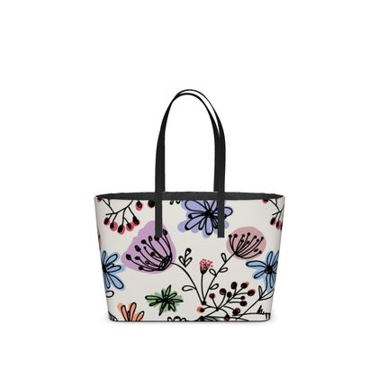 Wild flowers - Kika Tote - floral, large scale, hand drawing, colored spots, graphical, artistic, botanical, blossom, blooming plants, summer gift - design by Tiana Lofd