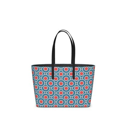 Japanese summer - Kika Tote - Geometric shapes, abstract, blue and red, circles, elegant vintage, trendy, sophisticated stylish gift, modern, sports, spectacular retro - design by Tiana Lofd