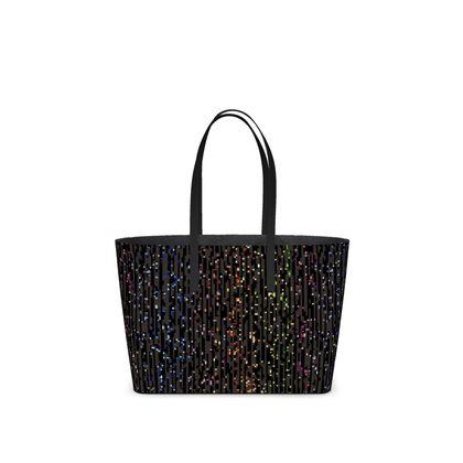 Cabaret Night - Kika Tote - glitter black, sparkling sparks, scintillant, rainbow gift, iridescent, lurex, glamorous sheen, brilliant chic, Bohemian, spectacular, magical - design by Tiana Lofd