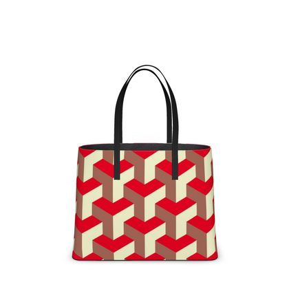 Heart in a cube - Kika Tote - Abstract geometry, red, contrasting, bright, elegant, statement, futuristic, spectacular, graphic, noble, asymmetrical, effective, stylish gift - design by Tiana Lofd
