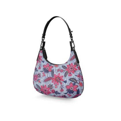 Napa Leather Mini Curve Bag Grey Vintage Floral Print