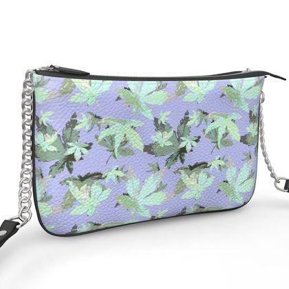 Pochette Double Zip Bag, Mauve, Leaf  Regal Leaves  Silver Moon