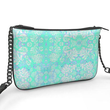 Pochette Double Zip Bag, Aqua, Leaf  Oaks  Aqua Pearl