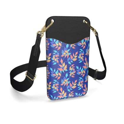 Leather Phone Case With Strap, Blue, Slipstream,  Almost Winter