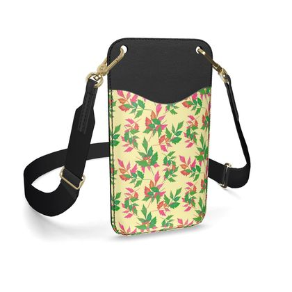 Leather Phone Case With Strap, Green, Pink Slipstream Mossy Heather