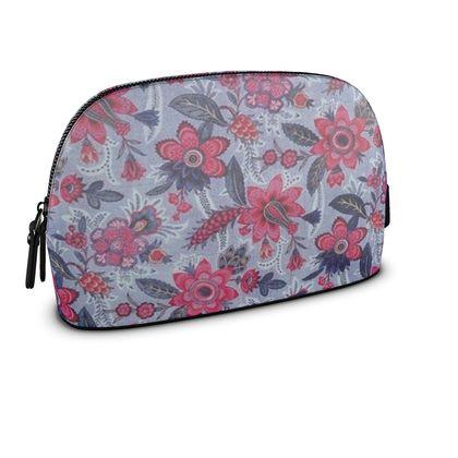 Premium Nappa Leather Make Up Bag Grey Vintage Floral Print