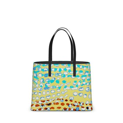 Textural Collection in beige and turquoise Kika Tote