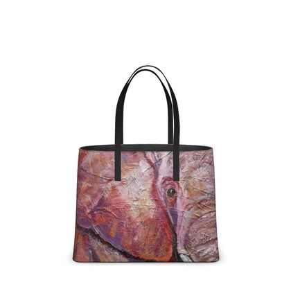 Pink and Purple Elephant Leather Tote Bag