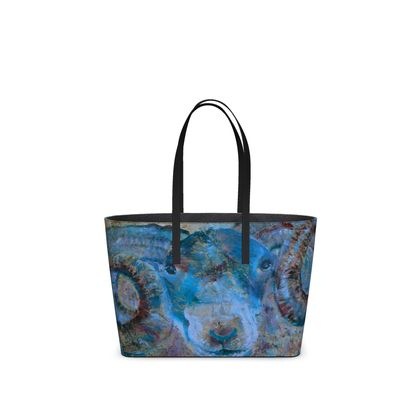 Blue Ram Leather Tote Bag