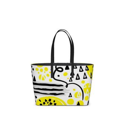 black yellow geometrical kika tote bag