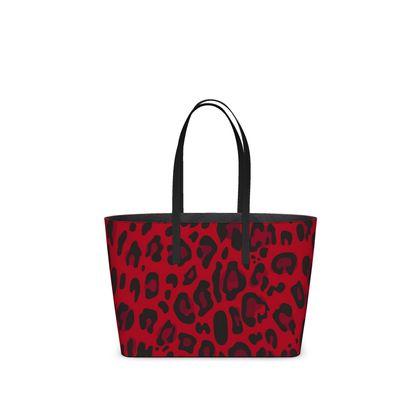 Red black animal print kika tote