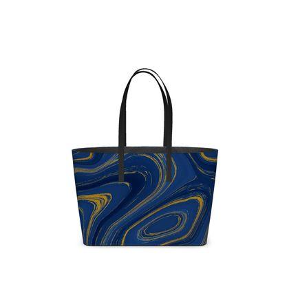 blue gold marble kika tote