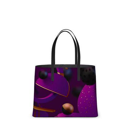 purple 3d geometrical kika tote bag