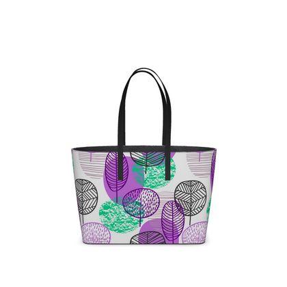 purple teal trees kika tote bag