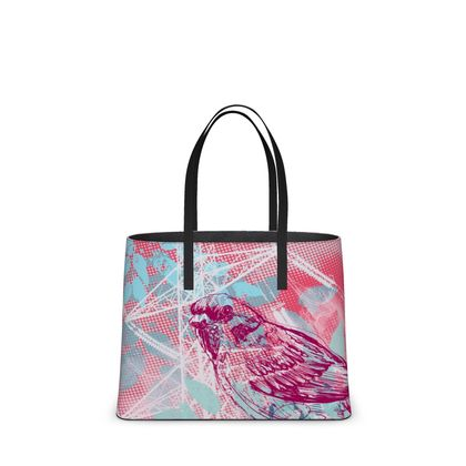 Leather Tote Bag - Urban in Pink (Large)