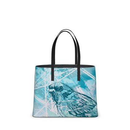 Leather Tote Bag - Leaves and birds in Blue (Large)