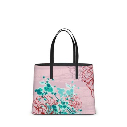 Leather Tote Bag - Florals in Pink (Large)
