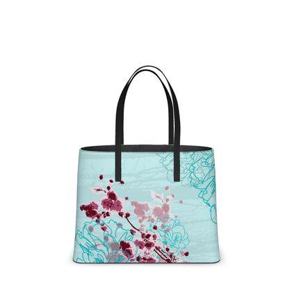 Leather Tote Bag - Florals in Aqua Blue (Large)
