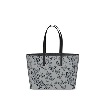 Wisteria Butterfly Collection (Navy) - Luxury Kika Tote Bag